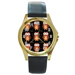 Halloween brown owls  Round Gold Metal Watch Front