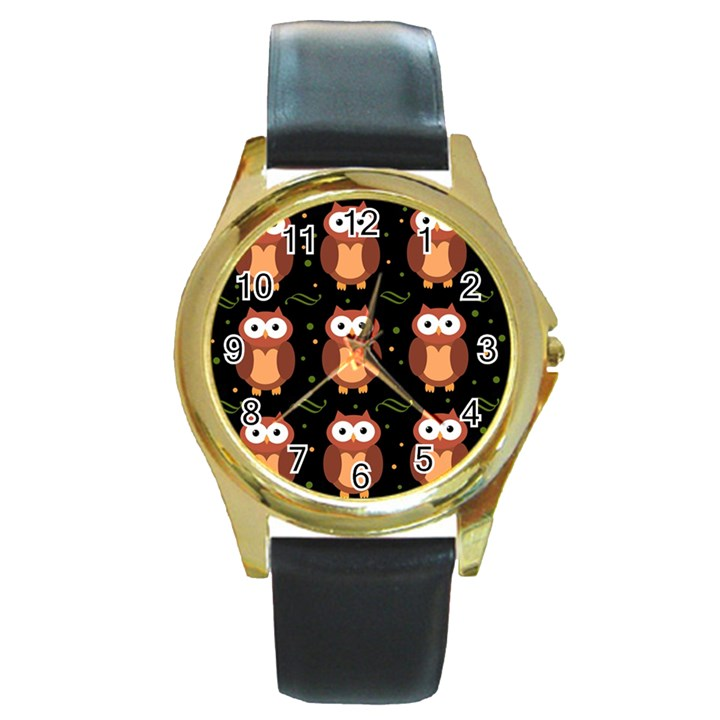 Halloween brown owls  Round Gold Metal Watch
