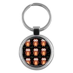 Halloween Brown Owls  Key Chains (round)