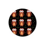 Halloween brown owls  Rubber Round Coaster (4 pack)  Front