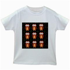 Halloween brown owls  Kids White T-Shirts