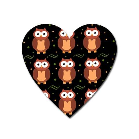Halloween brown owls  Heart Magnet