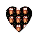 Halloween brown owls  Heart Magnet Front