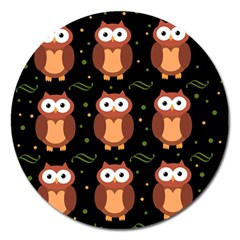 Halloween brown owls  Magnet 5  (Round)