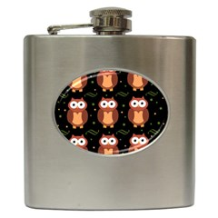 Halloween Brown Owls  Hip Flask (6 Oz)