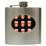 Halloween brown owls  Hip Flask (6 oz) Front