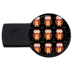 Halloween brown owls  USB Flash Drive Round (1 GB)