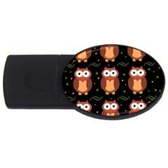 Halloween brown owls  USB Flash Drive Oval (2 GB)