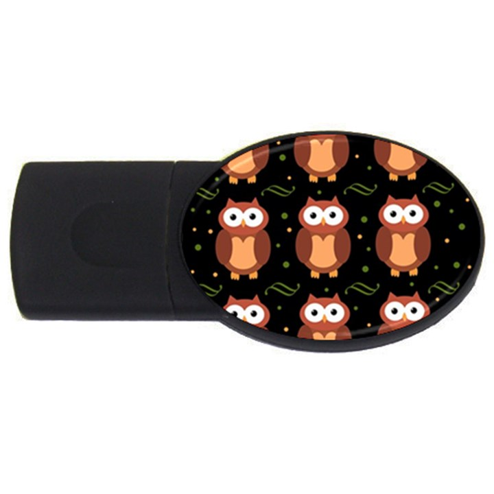 Halloween brown owls  USB Flash Drive Oval (1 GB)