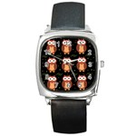 Halloween brown owls  Square Metal Watch Front