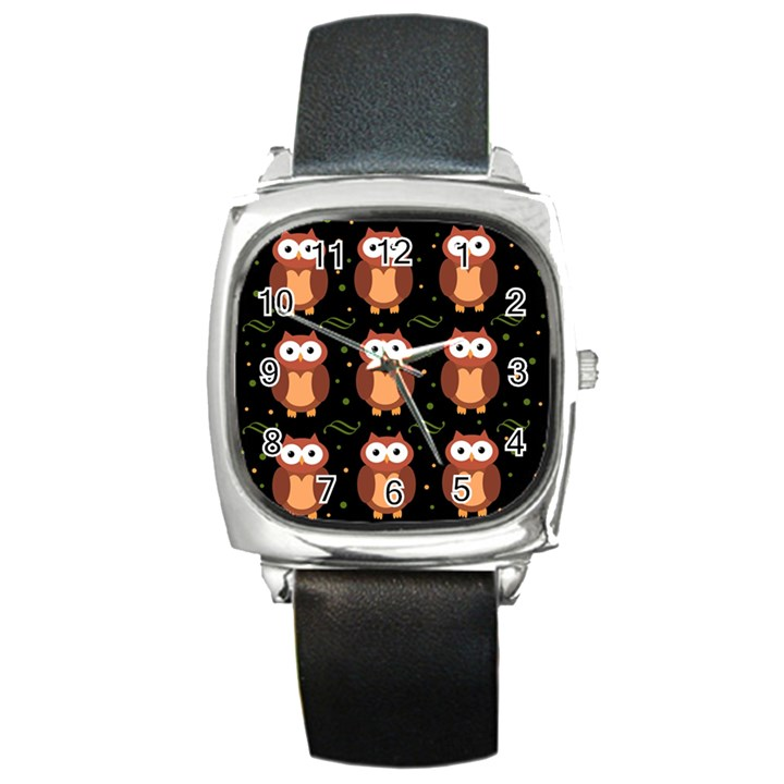 Halloween brown owls  Square Metal Watch