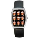 Halloween brown owls  Barrel Style Metal Watch Front