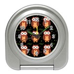 Halloween brown owls  Travel Alarm Clocks Front