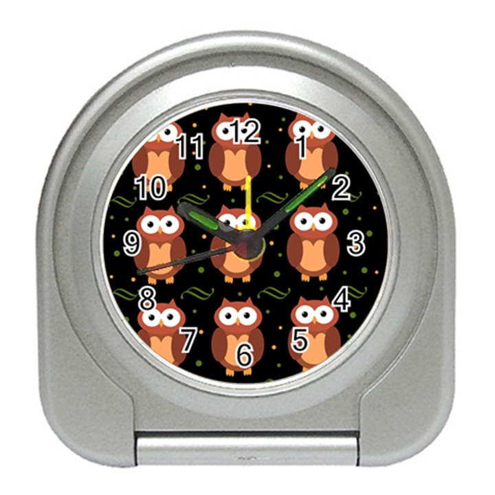 Halloween brown owls  Travel Alarm Clocks