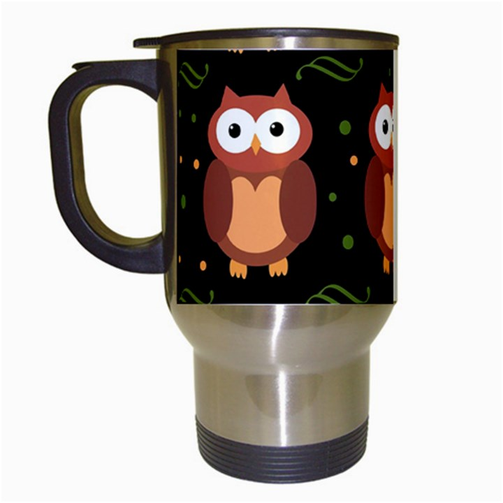Halloween brown owls  Travel Mugs (White)