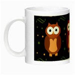 Halloween brown owls  Night Luminous Mugs Left