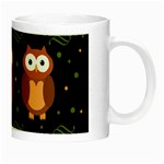Halloween brown owls  Night Luminous Mugs Right