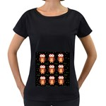 Halloween brown owls  Women s Loose-Fit T-Shirt (Black) Front