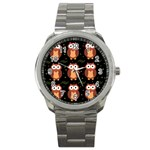 Halloween brown owls  Sport Metal Watch Front