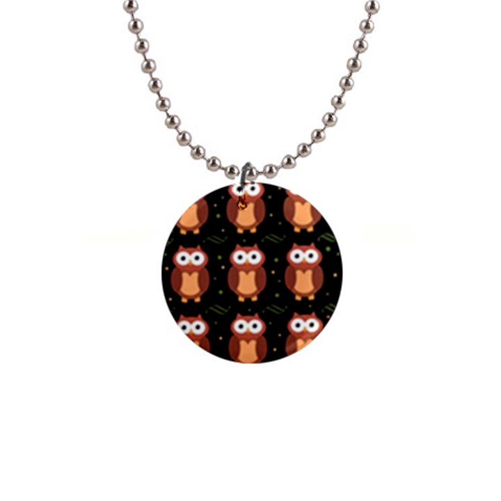 Halloween brown owls  Button Necklaces