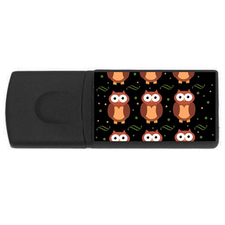 Halloween brown owls  USB Flash Drive Rectangular (4 GB)
