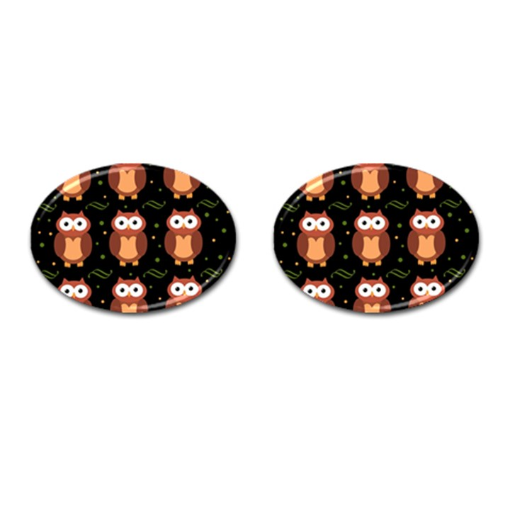 Halloween brown owls  Cufflinks (Oval)