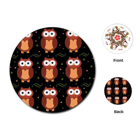 Halloween brown owls  Playing Cards (Round)