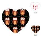 Halloween brown owls  Playing Cards (Heart)  Front