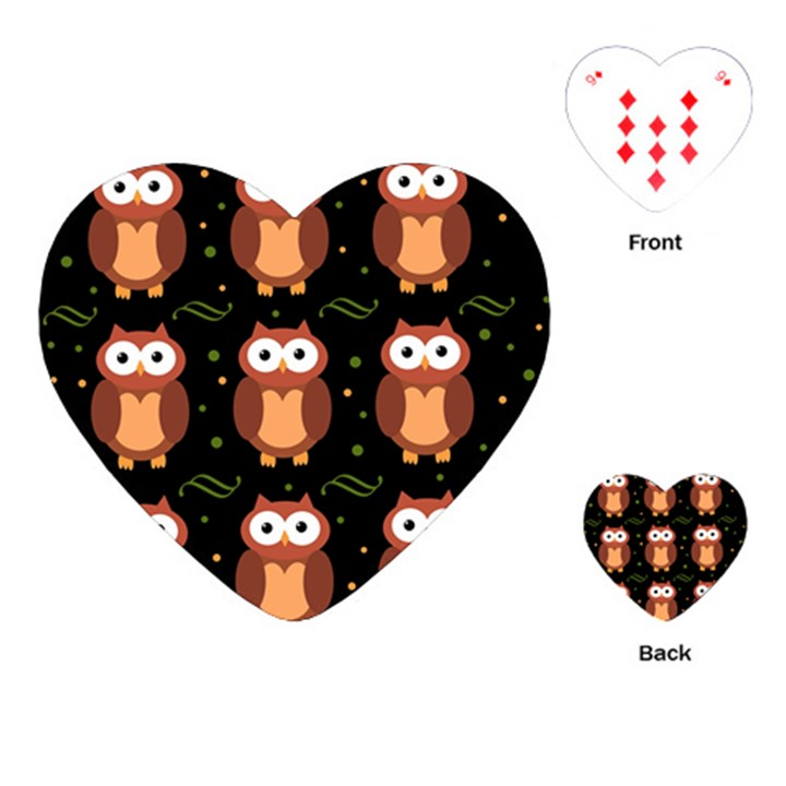 Halloween brown owls  Playing Cards (Heart)