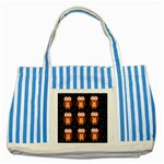 Halloween brown owls  Striped Blue Tote Bag Front