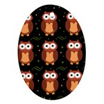 Halloween brown owls  Oval Ornament (Two Sides) Back