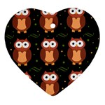 Halloween brown owls  Heart Ornament (2 Sides) Front