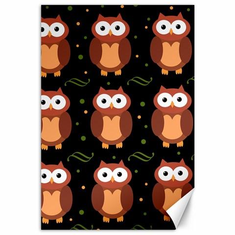 Halloween brown owls  Canvas 12  x 18
