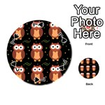 Halloween brown owls  Playing Cards 54 (Round)  Front - Spade7