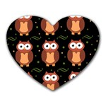 Halloween brown owls  Heart Mousepads Front