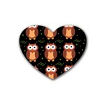 Halloween brown owls  Rubber Coaster (Heart)  Front