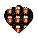 Halloween brown owls  Dog Tag Heart (Two Sides) Back