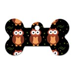 Halloween brown owls  Dog Tag Bone (Two Sides) Back