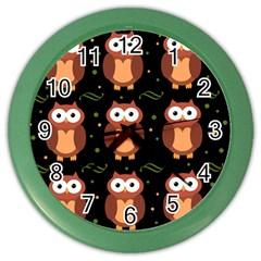 Halloween Brown Owls  Color Wall Clocks