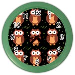 Halloween brown owls  Color Wall Clocks Front