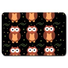 Halloween Brown Owls  Large Doormat