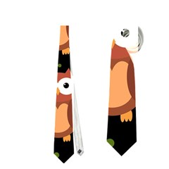 Halloween brown owls  Neckties (One Side)