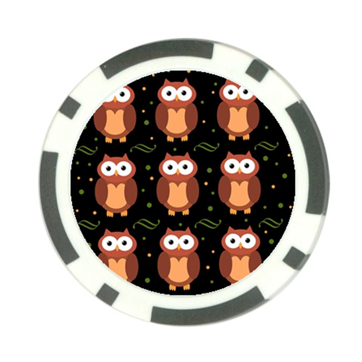 Halloween brown owls  Poker Chip Card Guards