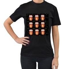 Halloween brown owls  Women s T-Shirt (Black)