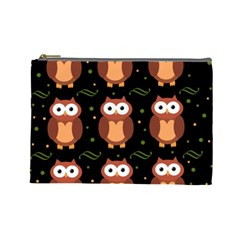 Halloween Brown Owls  Cosmetic Bag (large)