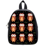 Halloween brown owls  School Bags (Small)  Front