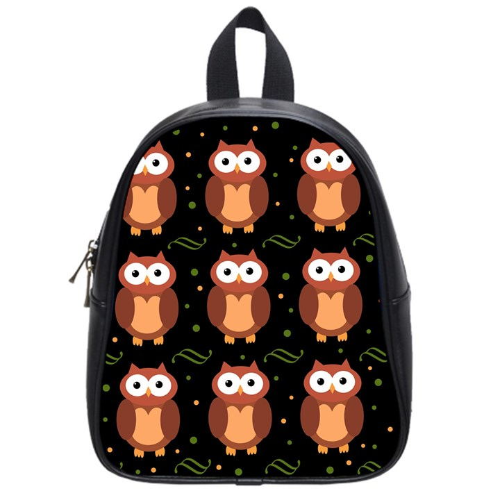 Halloween brown owls  School Bags (Small)