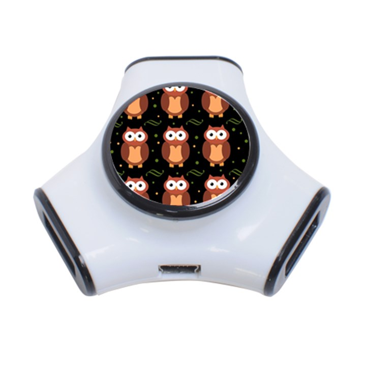Halloween brown owls  3-Port USB Hub