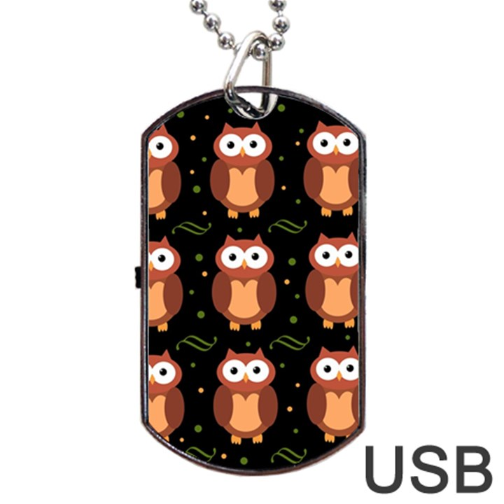Halloween brown owls  Dog Tag USB Flash (One Side)