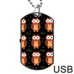 Halloween brown owls  Dog Tag USB Flash (Two Sides)  Back